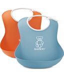 BabyBjorn Soft Bibs Orange & Turquoise