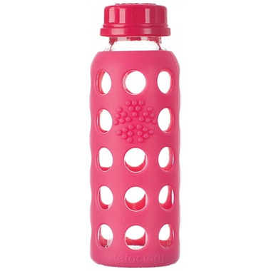 Lifefactory Glass Bottle Raspberry Flat Cap & Silicone Sleeve