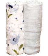 Little Unicorn Bamboo Muslin Swaddle Set Blue Windflower