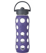 Lifefactory Glass Bottle Straw Cap & Royal Purple Silicone Sleeve