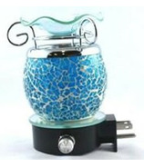 Finesse Home Finesse Blue Crackle Plug In Lamp
