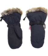 Calikids Water Repellant Nylon Shell & Faux Fur Mitts Black