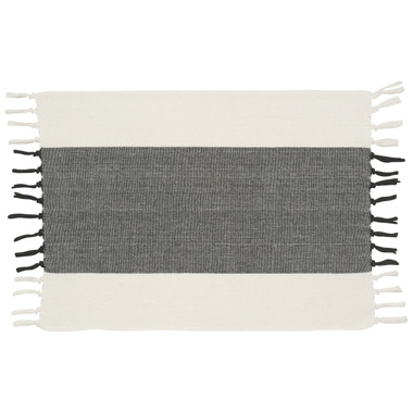 Now Designs Placemat Fringed Wide Stripe Black