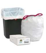 Genuine Joe Flexible White Drawstring Trash Can Liners