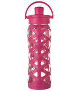 Lifefactory Glass Bottle with Active Flip Cap & Guava Silicone Sleeve