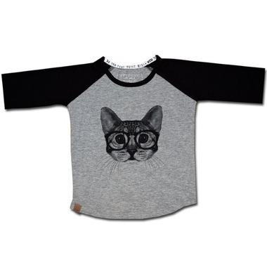 L&P Apparel Baseball Style Shirt Grey & Black Cat