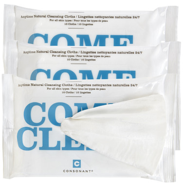 Consonant Skincare Come Clean 100% Natural Bamboo Cleansing Cloths 3 Pack