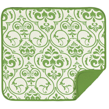 Envision Home Dish Drying Mat Lime Damask Print