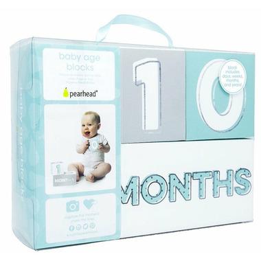 Pearhead Baby Age Blocks Aqua, Grey and Black