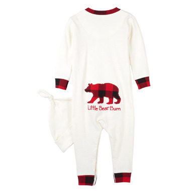 Little Blue House by Hatley Baby Romper with Cap Buffalo Plaid