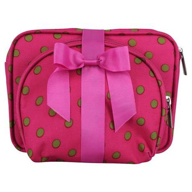 Attitudes Pink with Lime Polka Dots Cosmetic Bag