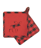 Domay Hotel Buffalo Check Moose Pot Holder Set