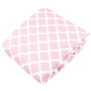 Kushies Flannel Fitted Crib Sheet Lattice Pink