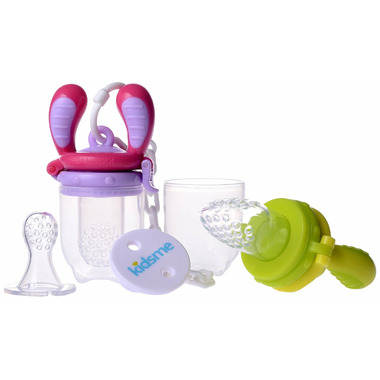 Kidsme Food Feeder Starter Pack with Holder in Lime & Lavender