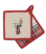 Domay Xmas Tartan Plaid Deer Pot Holder Set