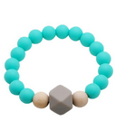 Glitter & Spice Adult Silicone Teething Bracelet Gemstone in Caribbean Blue