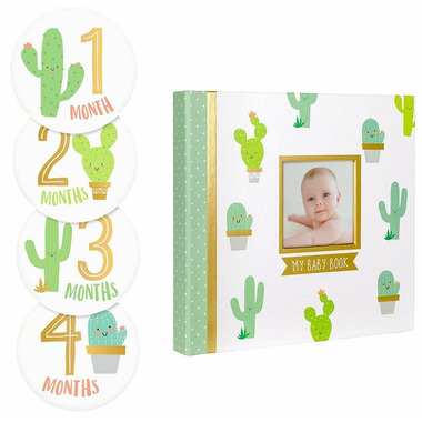 Pearhead Baby\'s Memory Book and Sticket Set Cactus