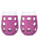 Lifefactory Large Wine Glasses with Huckleberry Silicone Sleeve