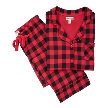 Little Blue House Buffalo Plaid Women\'s Cotton Jersey Pajama Set