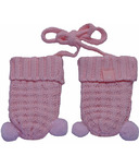 Calikids 100% Cotton Knit Mitts with Pom Poms Blushing Rose