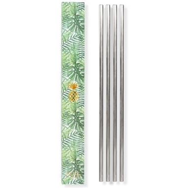 W&P 10 Inch Metal Straws Silver
