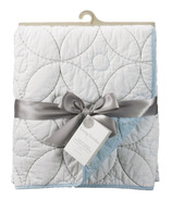 Living Textiles Cotton Poplin Quilted Comforter White & Blue