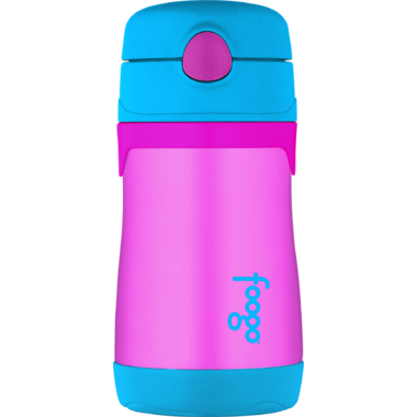 Thermos Stainless Steel Straw Bottle Aubergine and Blue