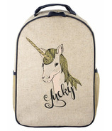 SoYoung Raw Linen Lucky Unicorn Toddler Backpack