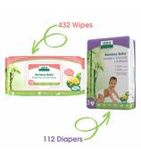 Aleva Naturals Bamboo Size 3 Diaper and Sensitive Wipes Bundle