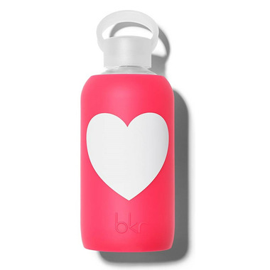 bkr Bisous Heart Glass Water Bottle Sheer Pinkish Cherry Red with Heart
