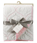 Living Textiles Cotton Poplin Quilted Comforter White & Pink