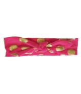 Baby Wisp Bunny Ears Top Knot Dark Pink + Gold Dots