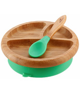 Avanchy Baby Organic Bamboo Stay Put Suction Plate and Spoon Green