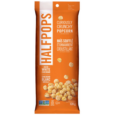 Halfpops Curiously Crunchy Popcorn Aged White Cheddar