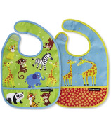 Crocodile Creek Bibs 2 Go with Pouch Little Jungle