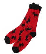 Hatley Men's Crew Socks Moose on Red