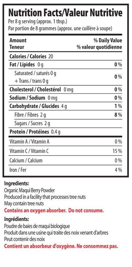 Maqui Berry Powder Organic Traditions English Canada