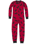 Hatley Kids Union Suit Moose On Red