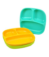 Re-Play Divided Plates Aqua, Lime Green and Sunny Yellow