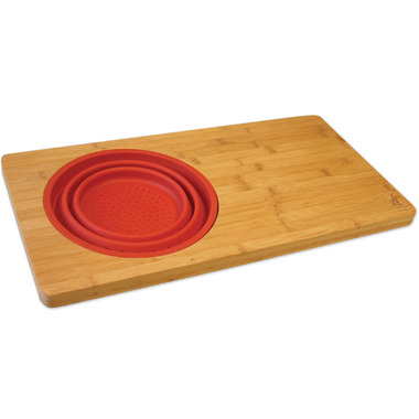 Island Bamboo Over The Sink Cutting Board Vibrant Red