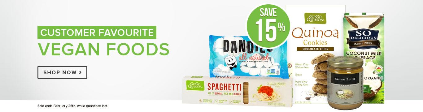 Save 15% on Vegan Foods