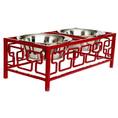 Robely Heavy Wrought Iron Double Elevated Pet Feeder
