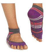 Gaiam Mary Jane No-Slip Yoga Sock Size S/M in Grey & Purple
