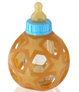 Hevea Baby Glass Bottle with Natural Rubber Cover & Blue Cap