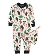 Little Blue House by Hatley Baby Romper with Cap Lumberjack Animals