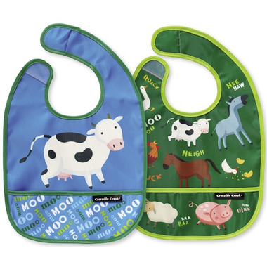 Crocodile Creek Bibs 2 Go with Pouch Barnyard Banter
