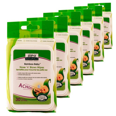 Aleva Naturals Bamboo Baby Nose n\' Blows Wipes 5 + 1 Pack