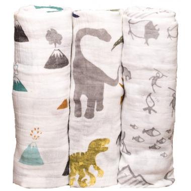 Little Unicorn Cotton Muslin Swaddle Set Dino Friends