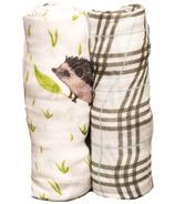 Little Unicorn Bamboo Muslin Swaddle Set Hedgehog
