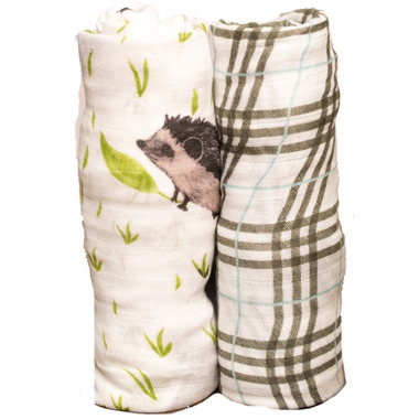 Little Unicorn Bamboo Muslin Swaddle Set Hedgehog